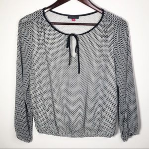 Vince Camuto Patterned Blouse White Black PS